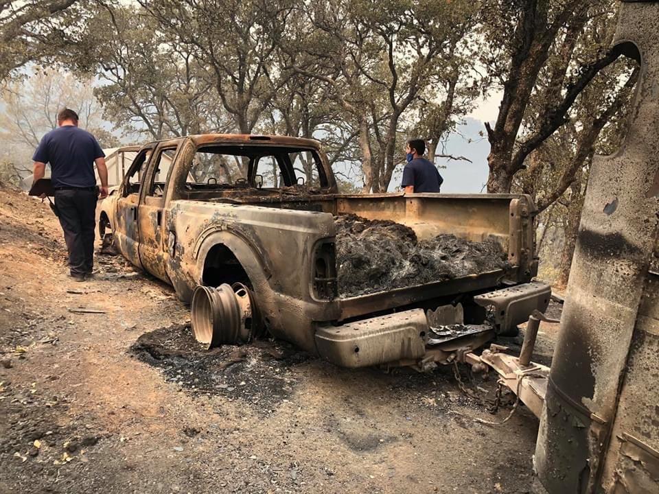 Burned Car Wildfire Volunteer Assistance