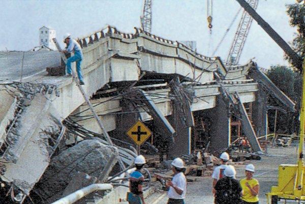 Earthquake road collapse