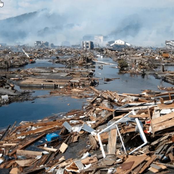 Tsunami Damage Island Town